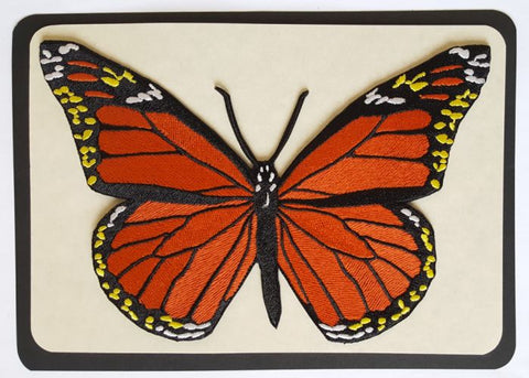 "Monarch Butterfly Embroidered Patch 7""x 4.6"""