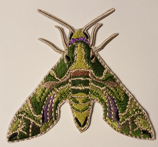 "Oleander Hawk Moth Embroidered Patch 3.8"" x 3.9"" FREE USA SHIPPING"