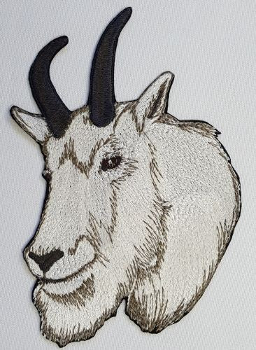 "Mountain Goat Embroidered Patch 4.7"" x 6.9"""