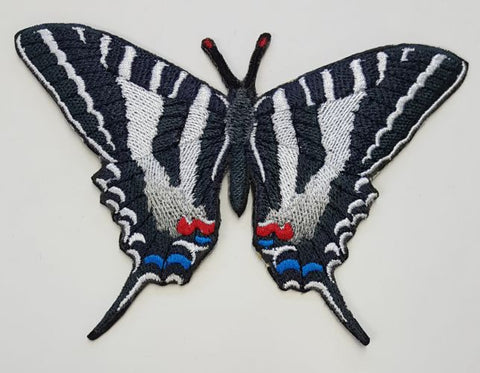 "Zebra Swallowtail Butterfly Pawpaws Papilionidae Bug Moth Caterpillar Embroidered Patch 5.2"" x 3.5"""