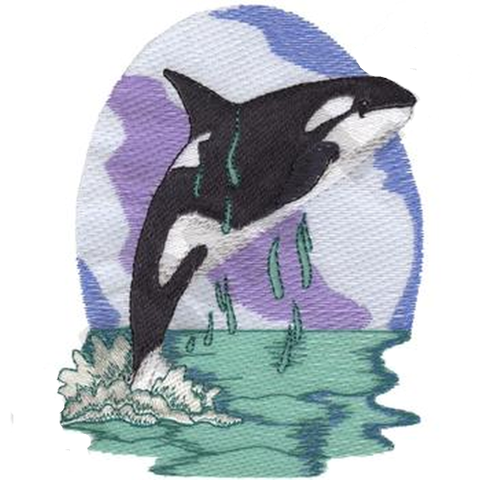 "Orca Whale Scene Killer Whale (297) Embroiderd Patch 4.9"" & 6.4"" Free USA Shipping"