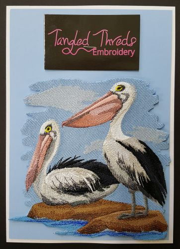 "Pelicans, Bird, Embroidered Path 4.8""x 4.7"""
