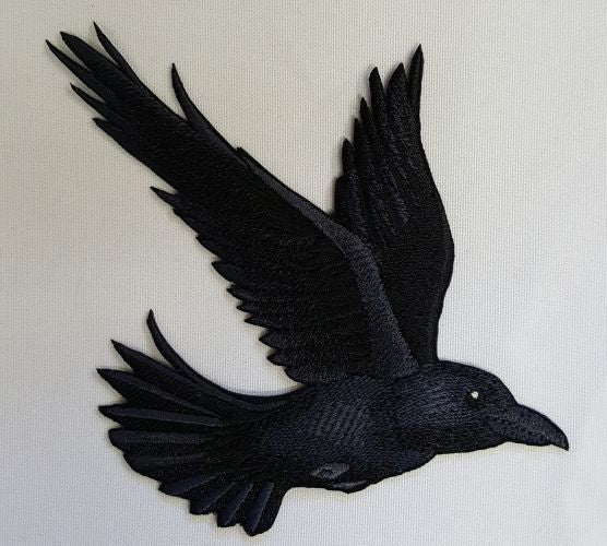 "Raven Crow Flying Bird Corvus Embroidered Patch 4.8""x 5"""