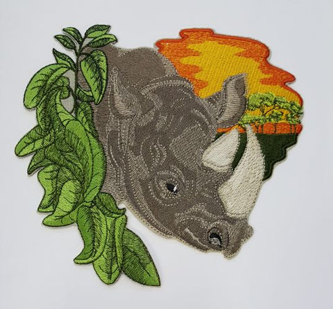 "African Rhino, Africa Rhinoceros with Acacia Trees, Africa  Embroidered Patch 7"" x 6.4"""