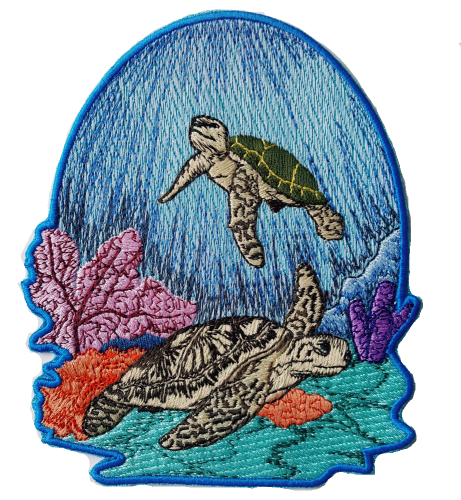"Sea Turtle Scene Embroidered Patch 4.9"" x 5.9"" FREE USA SHIPPING"
