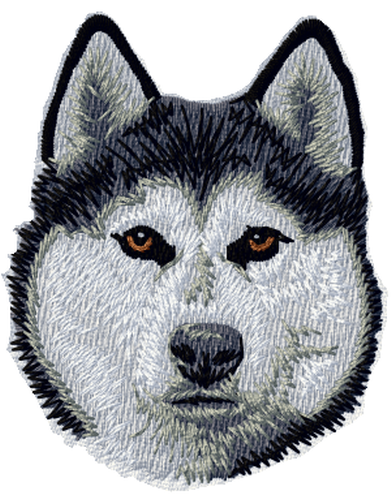 Siberian Husky Dog Embroidered Patch  3""