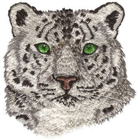 "Snow Leopard Embroidered Patch 3"", Iron or Sew on FREE USA SHIPPING"