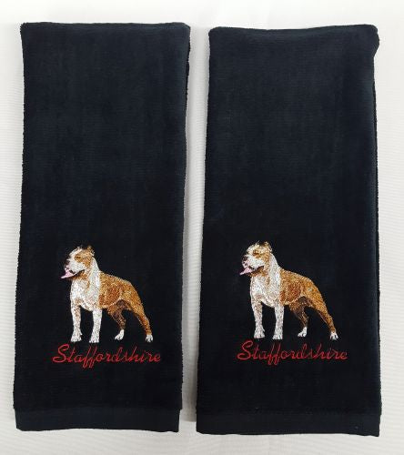 Staffordshire Terrier, Pitbull, Embroidered Hand Towels