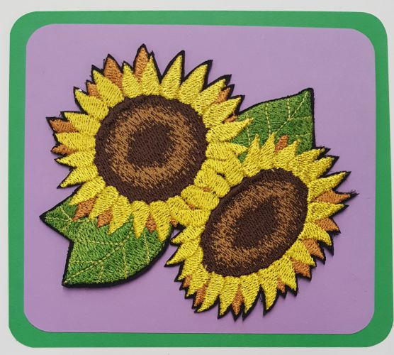 "Sunflower Embroidered Patch 4"" x 4.5"" Free USA Shipping"