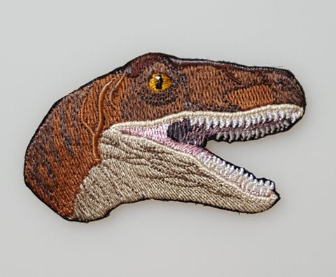 Dinosaur Velociraptor Head Embroidered Patch