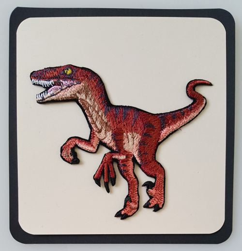 Dinosaur Velociraptor Embroidered Patch Free USA Shipping