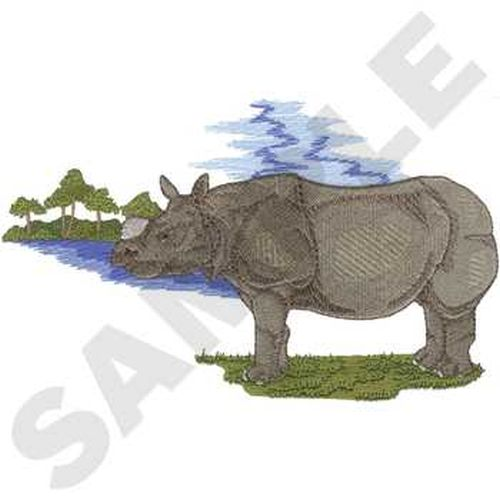 "Rhino, Rhinoceros Embroidered Patch 8.1"" x 4.9"""