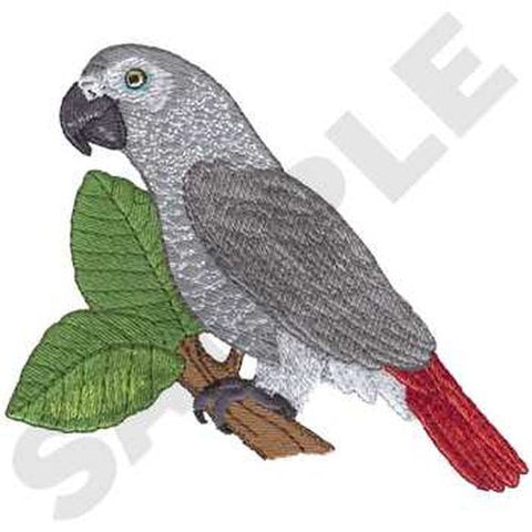 "African Grey Parrot Bird Embroidered Patch 5.5"" x 4.9"""