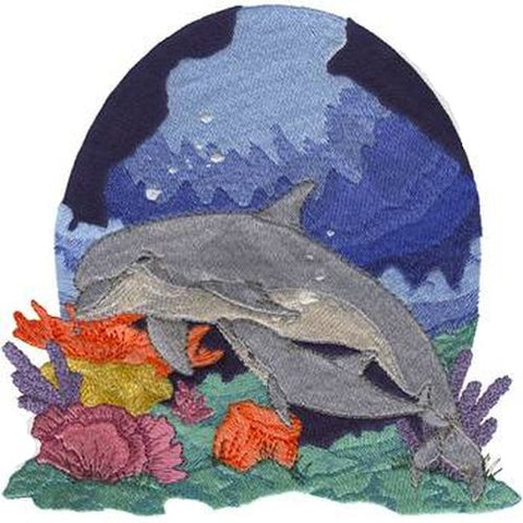 "Dolphins Mom & Baby, Calf or Pup Embroidered Patch 7.8"" x 8"""