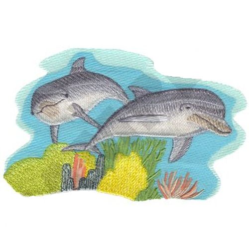 "Dolphins Pair Scene Embroidered Patch 7.4"" x 4.7"""