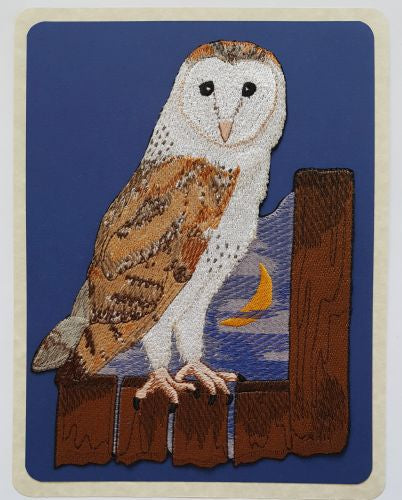 "Owls, Barn Owl, Birds of Prey, Embroidered Patch 6.3""x 8.7"""