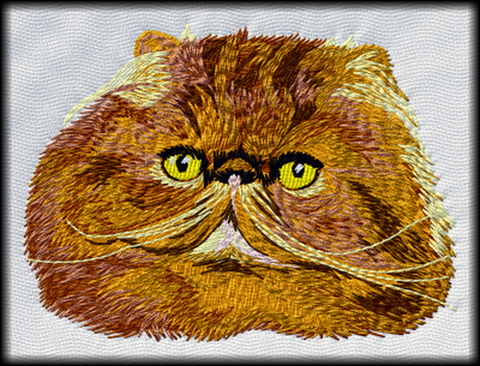 Persian Cat Embroidered Patch (3.0 Inches Tall)