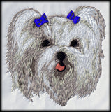 Maltese Dog Embroidered Patch (2.8 Inches Tall)