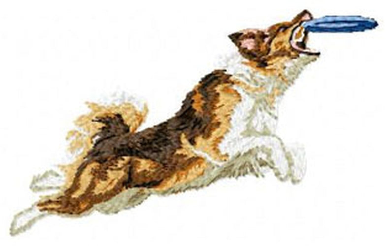 Australian Shepherd, Aussie Dog Playing Frisbee - Embroidered Patch (2.4 Inches Tall)