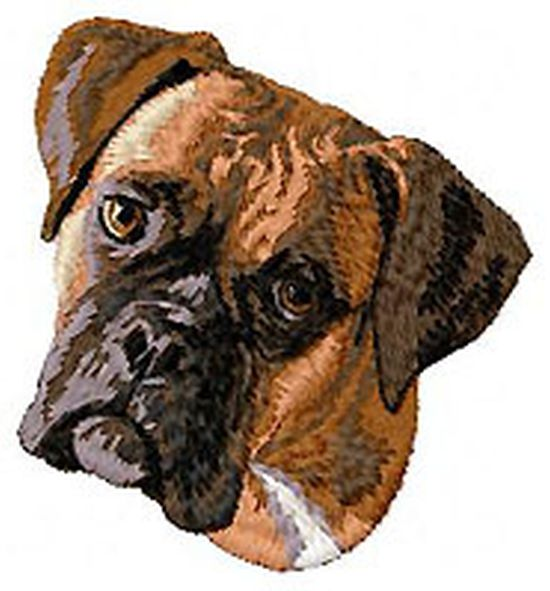"Boxer Dog Embroidered Patch 2.9"" Tall"