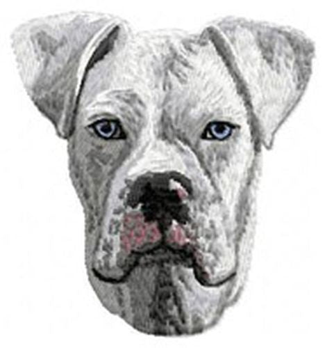 "Boxer Dog, White Embroidered Patch 3"" Tall"