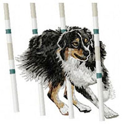 "Australian Shepherd, Aussie, Agility Dog, Weave Pole - Embroidered Patch 4"" Tall"