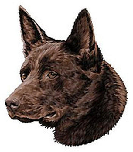 Australian Kelpie Dog (Chocolate Brown) Embroidered Patch (3.1 Inches Tall)