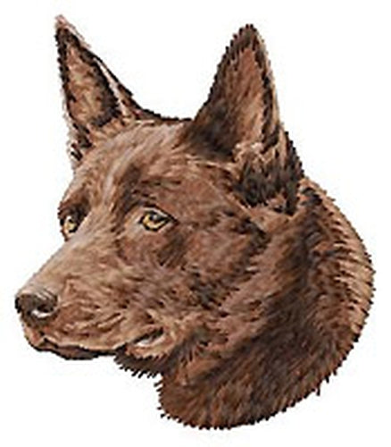 Australian Kelpie Dog (Red) Embroidered Patch (3.1 Inches Tall)