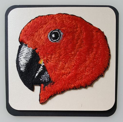 Eclectus Parrot Head Female Embroidered Patch