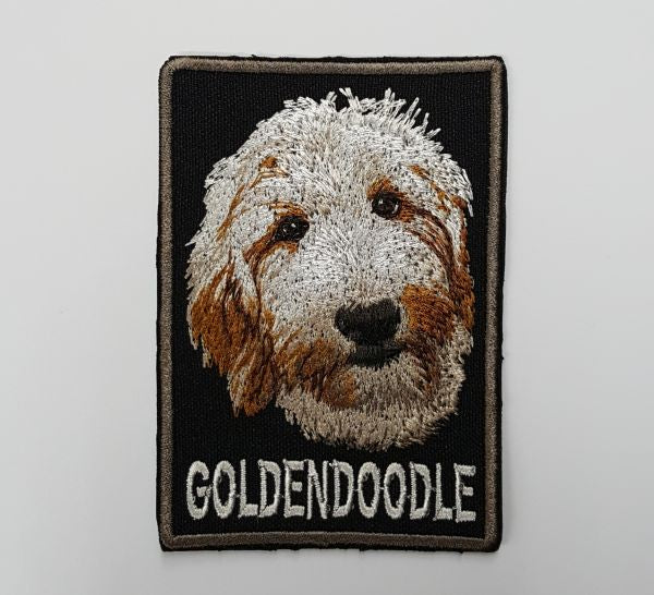 "Goldendoodle Golden Doodle, Dog Embroidered Patch With Lettering 3.7"" x 2.6"""