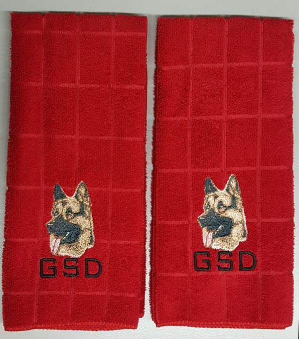 German Shepherd Dog Embroidered Hand Towels