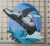 "Whale Humpback Whale Embroidered Patch 7.9"" x 7.9"""