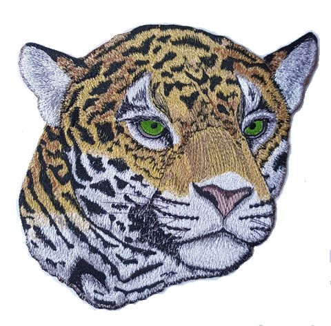 "Jaguar, Exotic Cat, Wild Cat Embroidered Large Patch 7.9"" x 7.7"