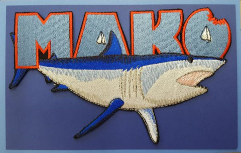 "Mako Shark Embroidered Patch 6.9"" x 4.8"""