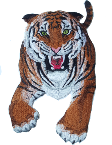 Tiger Wild Animal, Exotic Cat Embroidered Patch Free USA Shipping