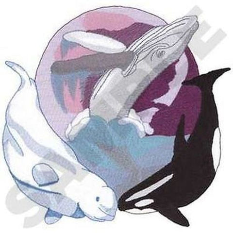 Whales Orca Killer Whale Humpback Whale Beluga Whale Embroidered Patch 9.3 x 9