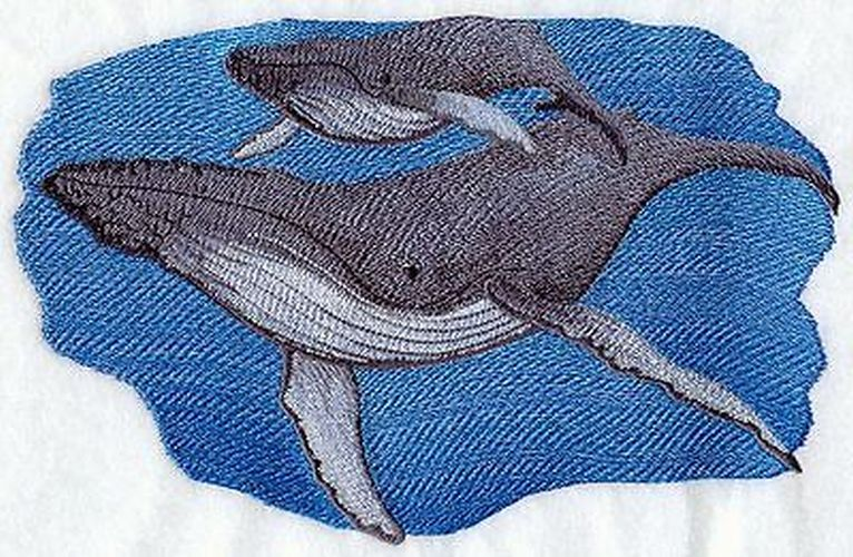 "Whale Humpback Embroidered Patch 9.3""x 5.9"""