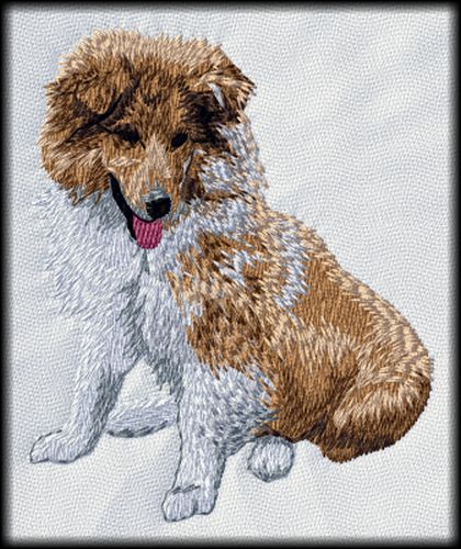 "Shetland Sheepdog Sheltie Embrodered Patch 3.7"" Tall"