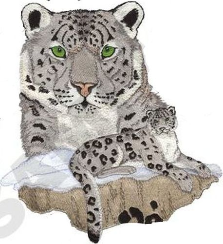"Snow Leopard Embroidered Patch 8""x 8.7"""