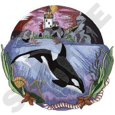 Whale Orca Killer Whales Marine Nautical Embroidered Patch 8.4 x 8