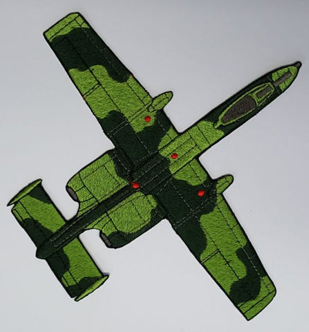 "A-10 Warthog Military Plane Green Embroidered Patch 8""x 8.5"""