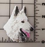 "White Swiss Shepherd Dog, Embroidered, Patch 2.9"" x 2.5"""
