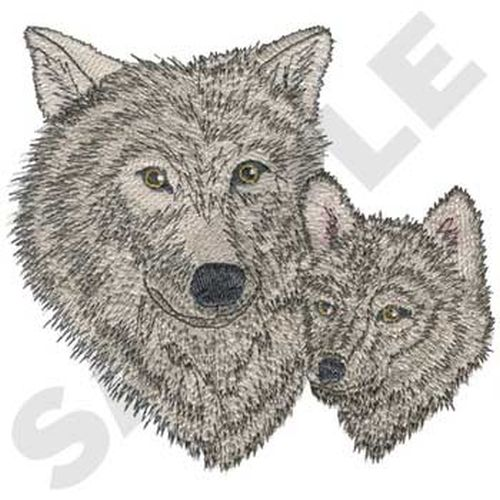 "Wolf & Cub, Embroidered Patch 5.6""x 5.2"""