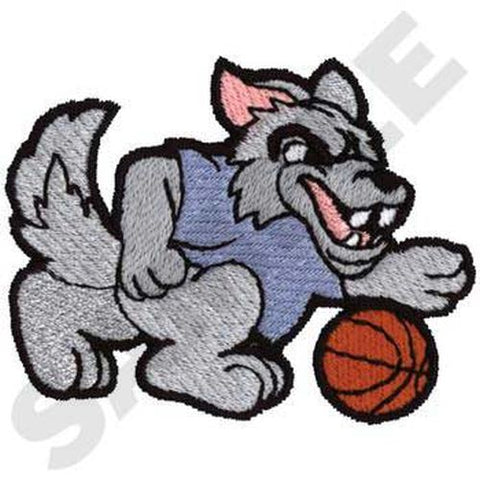 "Wolf Basketball Embroidered Patch 3"" x 2.3"""