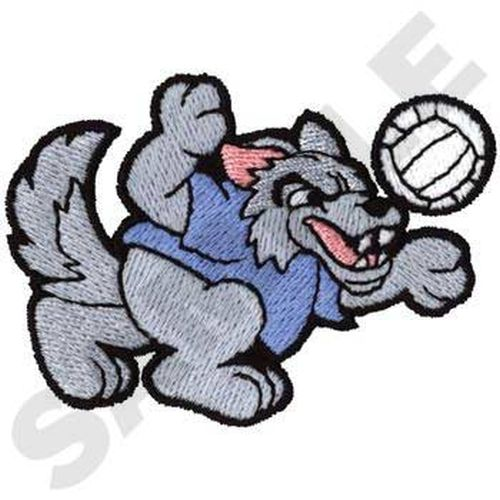 "Wolf Volleyball Embroidered Patch 3"" x 2.2"""