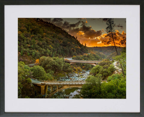Yuba River Framed Print - Fire in the Sky