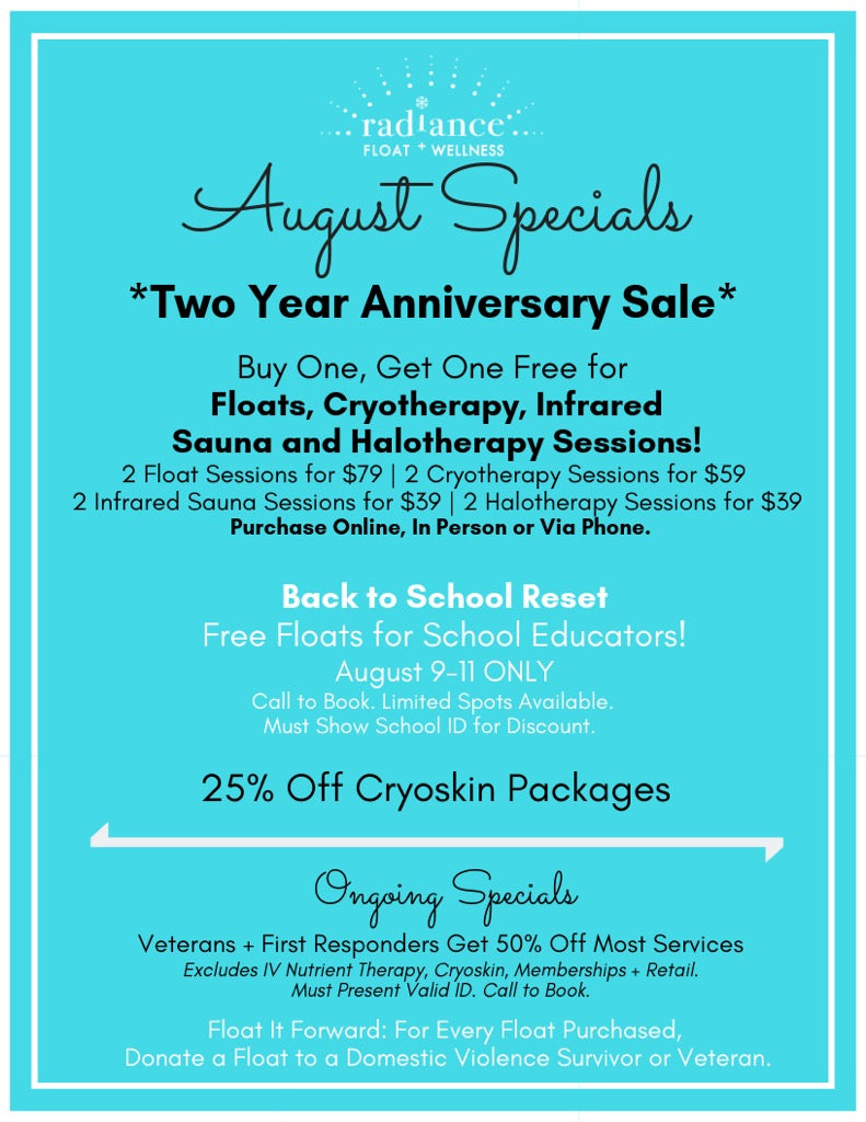 A selection of specials for the month of August.