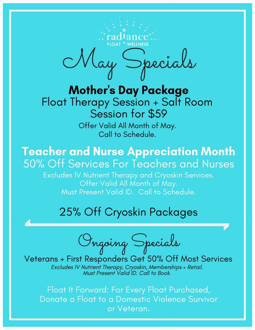 A selection of specials for the month of April.