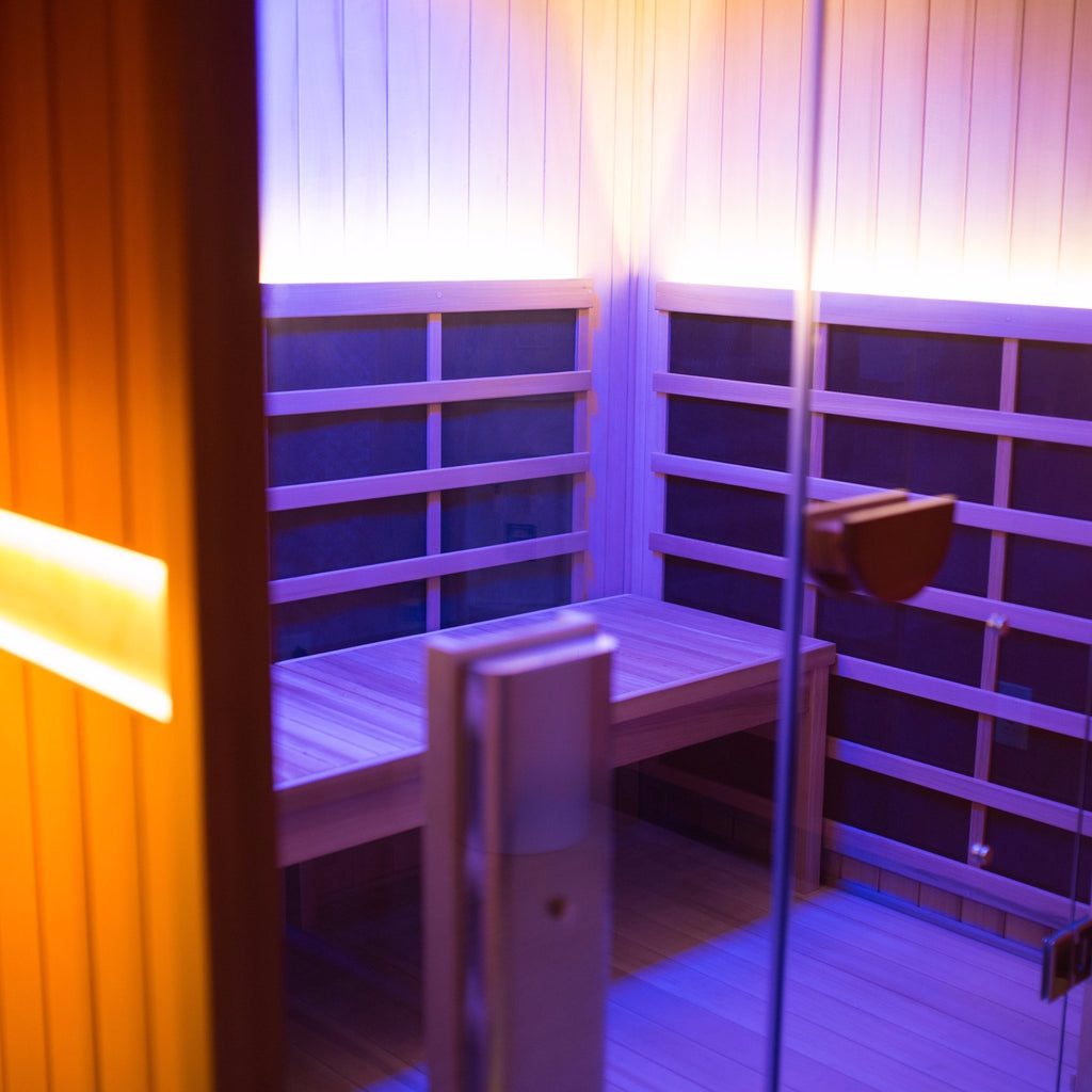 An infrared sauna featured at Radiance Float + Wellness.