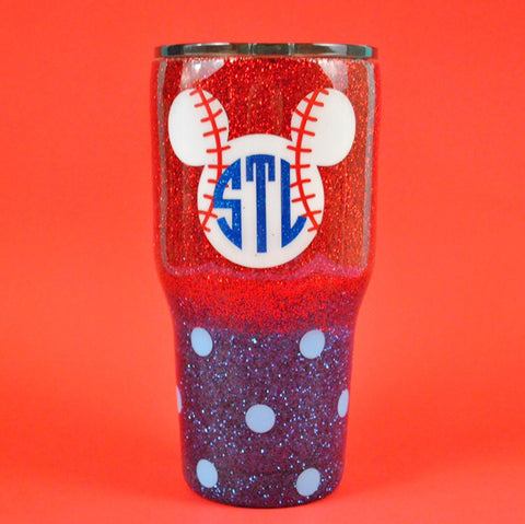 Baseball/Softball Mouse Monogram Stainless Steel Tumbler